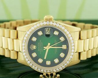 Rolex President Datejust Midsize 18K Yellow Gold 31MM Watch 68278 w/Green Diamond Dial & Bezel