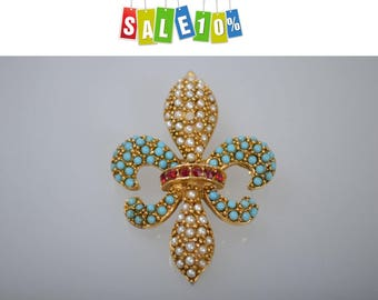 Fleur de Lis Brooch Pin ART faux pearls and turquoise 1960s