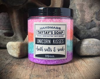 Unicorn Kisses Sea Salt Soak - Bath Salts - Rainbow Body Scrub - Bath Soak - Unicorn Bath Salts - Fruit Loop Bath - TayTaysSoap