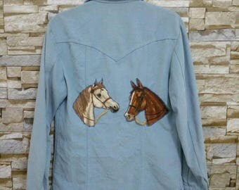 Vintage 70's LEE Cowboy Denim Jacket Jean Embroidered Cowboy Texas USA