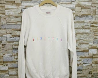 MEGA SALE Vintage 90's United Colors Of Benetton Sweatshirt Sweater Pullover Benetton Embroidered 46