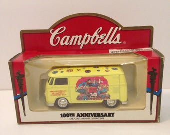Vintage Campbell's 100th Anniversary Die-Cast VW Bus