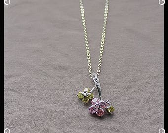 Sterling Silver Tourmaline & Pink Sapphire Necklace