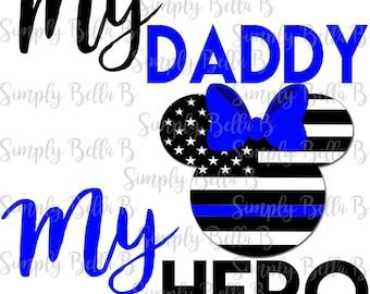 My Daddy My Hero Policeman Minnie American Flag INSTANT DOWNLOAD Printable Digital Iron-On Transfer Design - DIY