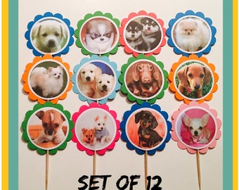Puppies Party Decorations | Dogs cupcake toppers,Dogs party tags, Puppies Theme Birthday, Dogs Birthday Party,