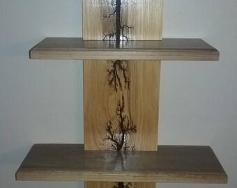 High Voltage Burned 2 tier Shelf