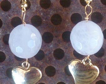 Rose Quartz gold plated earrings