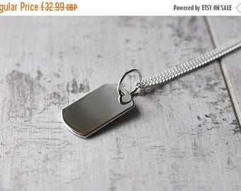 Summer Sale Personalised Silver Dog Tag Necklace - Silver Charm Necklace - FREE CUSTOM ENGRAVING