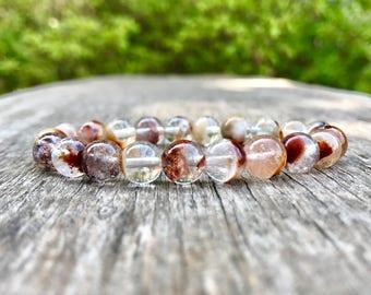 Garden Quartz Bracelet 8mm Inclusion Quartz Bracelet Lodolite Bracelet Chlorite Bracelet Landscape Quartz Scenic Quartz Clear Brown Quartz