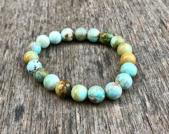 Pure Hubei Turquoise Bracelet Natural Unstabilized 8.5mm-9mm Chinese Hubei Turquoise Gemstone Bracelet Blue Green Pastel Turquoise Rounds