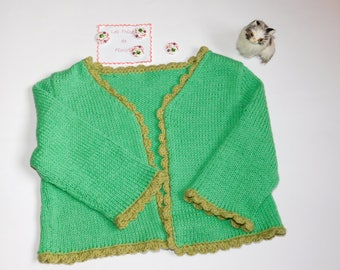 Vest girl 1 year green hand knitted cotton