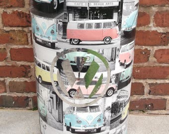Volkswagen Inspired Beetle Camper Van  Storage Barrel Drum Decoupage Up Cycled Vintage With Industrial Lid Perfect Storage In Any Enviroment