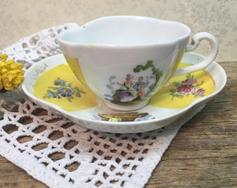 Dresden Demitasse Teacup Set/Yellow/Courting Couple