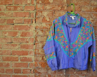 Vintage 90s Fall Style Windbreaker Zip-Up Jacket