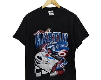 Hot Sale!!! Rare Vintage 90s NASCAR MARK MARTIN Ford Warp Speed Fullprint Double Sided T-Shirt Hip Hop Skate Swag Medium Size