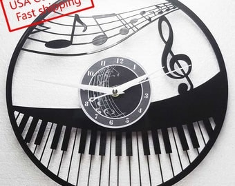Music/Piano themed Vinyl Album Record Clock made in the > USA < with FREE Shipping!