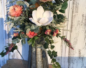 A Large Galvanized Pitcher Spring Floral Arrangement, Valentines Day Flowers, Summer Floral Arrangement, Magnolia Centerpiece, Wedding Decor