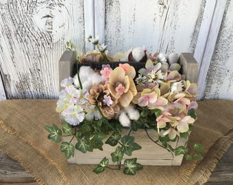Spring Arrangement in Wood Box with Vintage Spindle, Summer Arrangement, Wedding Centerpiece, Antique Spindle Table Decor, FAAP, Shabby Chic