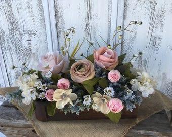 Antique Drawer Floral Arrangement, Spring Floral Arrangement, Summer Arrangement, Mothers Day, Vintage Drawer Centerpiece, Table Decor