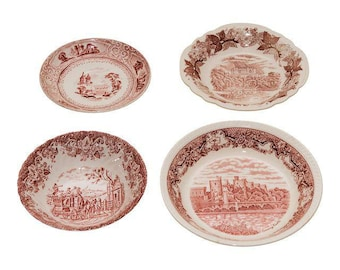 Vintage Red & White Transferware Plates- A Set of 4