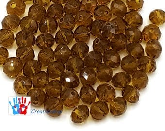 """x 100 beads Crystal octagonal faceted 6x4mm amber PFO014 - X 100 PFO014 amber 1/4 """"Faceted Crystal Pearls"""