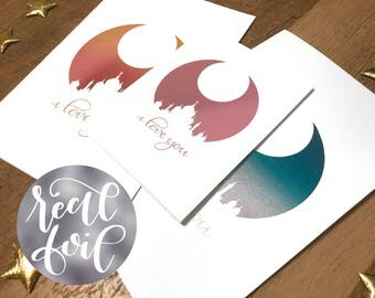 Moon Kingdom Real Foil Card - Handlettered Sailor Moon Valentine - Princess Serenity, Endymion - Otaku, Kawaii, Cute - Valentine's Day Gift