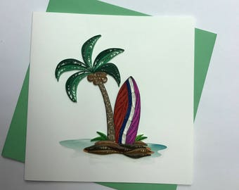 Surf Board Quilling Greeting Card