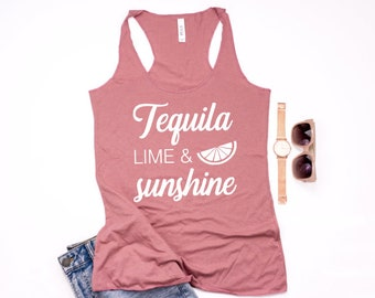 Tequila Tank Top - Summer Graphic Tank - Vacation Tank Top - Girls Trip Tank Top - Tequila And Lime Tank - Vacay Tee - Womens Graphic Tee