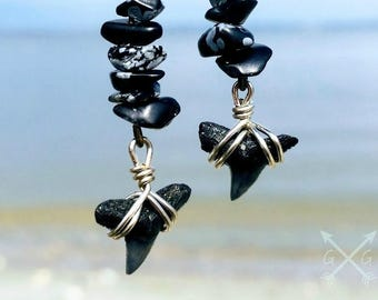 Genuine Shark Tooth Dangle Earrings with Snowflake Obsidian Gemstone Chips