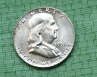 1958 D Franklin silver half dollar. #J364