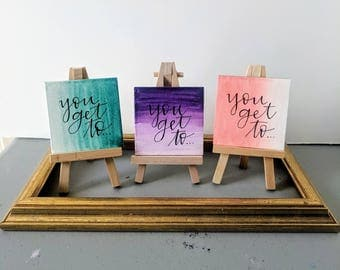 you get to -- tiny canvas + easel set