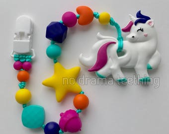 Silicone Unicorn Teether with a dummy chain