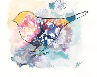 Gift Card, Valentines Day Card, Wedding Day Gift cards, painted card, prints, Bluebirds