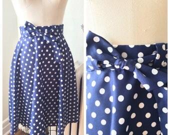 Vintage 1970s High Waist Blue and White Polka Dot Circle Skirt