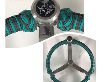 Gemlux deluxe knob 13.5 inch boat steering wheel, paracord wrapped, with steering wheel knob insert