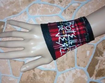 punk bracelet Bangle punk emo gothic Tartan Tartan Lace wrist cuff