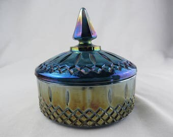 Blue Iridescent Indiana Glass Covered Glass Candy Dish, 1960s Diamond Pattern