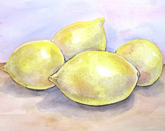 Lemon painting  Watercolor Still life  Fruit painting  Original watercolor painting  Kitchen Wall Art  Watercolor lemons