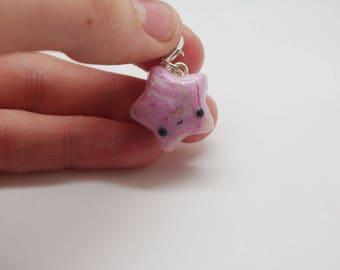 Handmade, polymer clay, pink, glittery, swirl, star charm