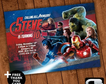 Avengers Invitation with FREE Thank You Card - Avengers Birthday Invite - Avengers Birthday Party - Avengers Digital File Download
