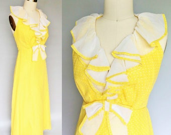 banana phone / 1970s canary yellow halter maxi dress by miss elliette / 2 4 6 xs xxs