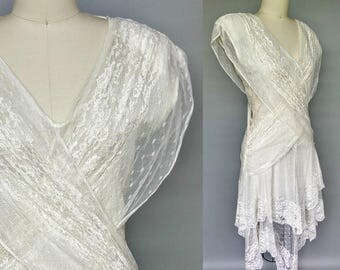 november rain / gauzy white 1980s rock n roll wedding dress / 10 12 medium