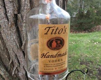 Tito's Vodka Wind Chime / Reclaimed Tito's Vodka Jug Wind Chime / Reclaimed Bottle Wind Chime / Glass Wind Chime / Vodka Wind Chime