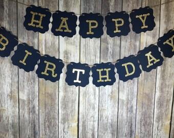 Happy Birthday Banner, Happy Birthday Navy Gold Banner, Birthday Banner, Birthday Decoration