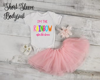 I'm the Rainbow After the Storm SHORT SLEEVE Infertility Pregnancy Announcement/Photoshoot Bodysuit, Birth Announcement, Birthday
