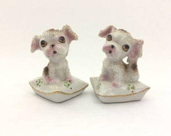 Cute Puppies on Pillows Salt and Pepper Shakers White With Brown Spots Textured Collectible 1950's