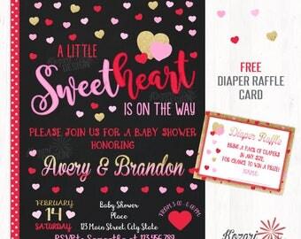 Valentines Baby Shower Invitation, Sweetheart Invitation