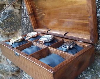 Watch Box Case, Men's Watch Box, Wood Watch Box, Watch Box for 6 Watches