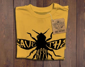 Save The Bees Shirt - Bee T-shirt -  Honey Bees - Bee Keeper T-shirt - Quality Ringspun Cotton Shirt - Animal Charity - Honey Comb