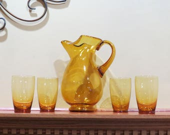 Vintage Hand Blown Amber Pitcher and Glasses